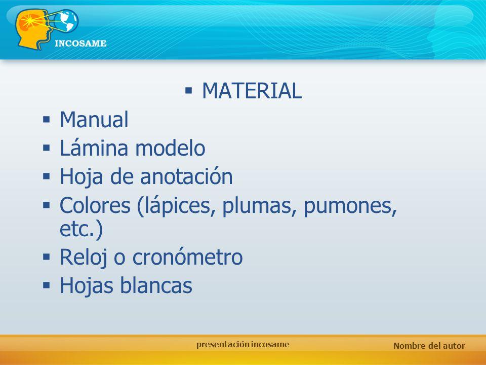 Nombre del autor presentación incosame MATERIAL Manual Lámina modelo Hoja de anotación Colores (lápices, plumas, pumones, etc.) Reloj o cronómetro Hoj