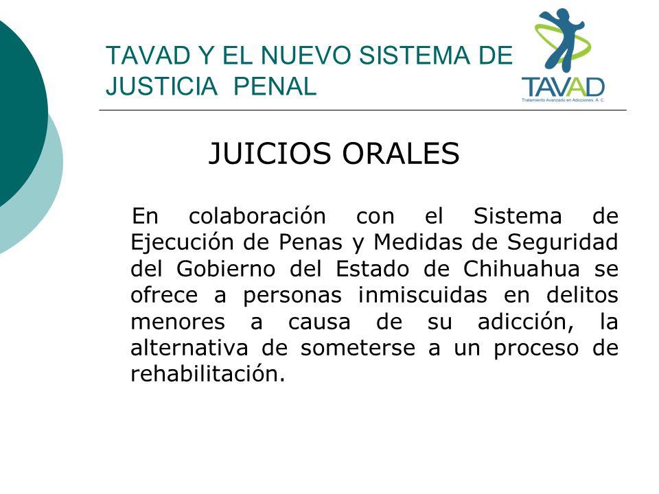 TAVAD Y EL NUEVO SISTEMA DE JUSTICIA PENAL JUICIOS ORALES En colaboración con el Sistema de Ejecución de Penas y Medidas de Seguridad del Gobierno del