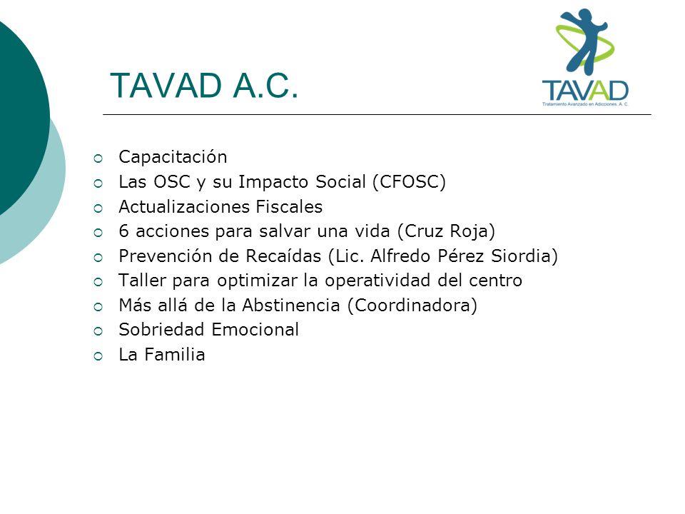 TAVAD A.C. Capacitación Las OSC y su Impacto Social (CFOSC) Actualizaciones Fiscales 6 acciones para salvar una vida (Cruz Roja) Prevención de Recaída