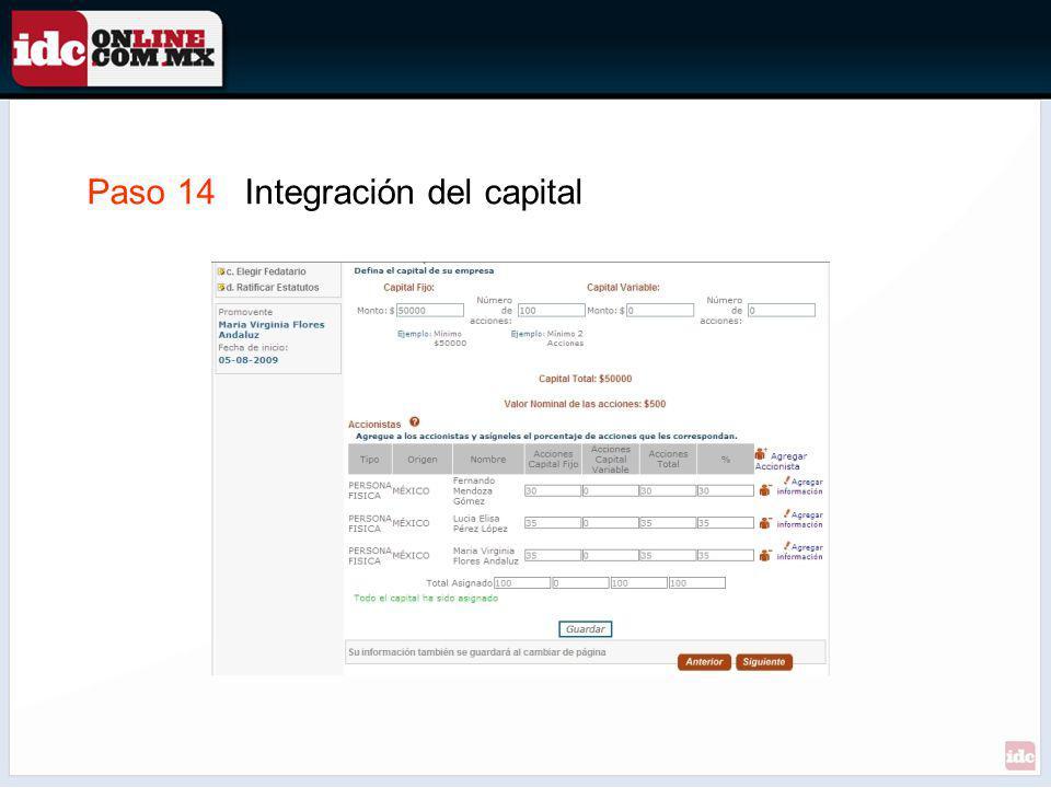 Paso 14 Integración del capital