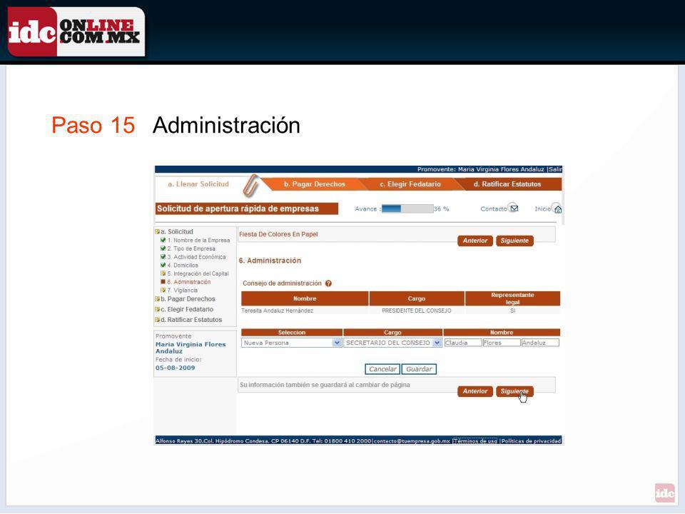 Paso 15 Administración