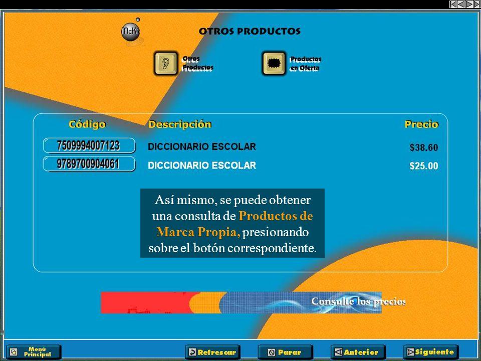 Al presionar sobre el botón Ofertas de Productos se obtiene una consulta de las ofertas de dicho producto.