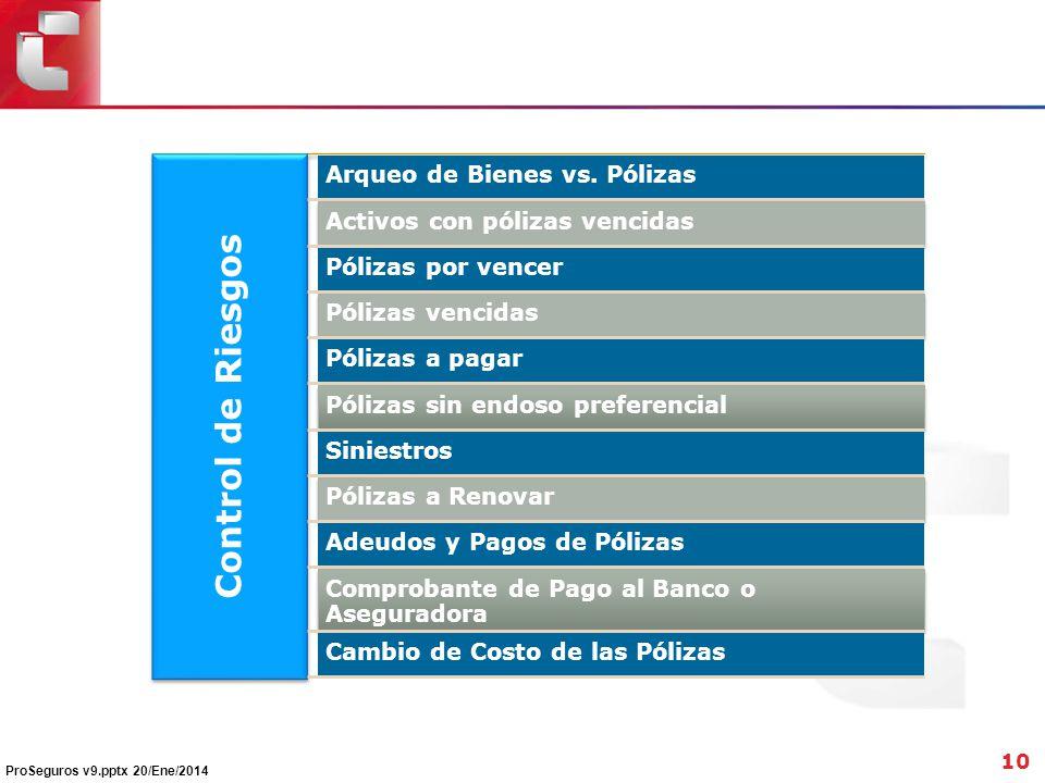 Control de Riesgos Arqueo de Bienes vs. Pólizas Activos con pólizas vencidas Pólizas por vencer Pólizas vencidas Pólizas a pagar Pólizas sin endoso pr