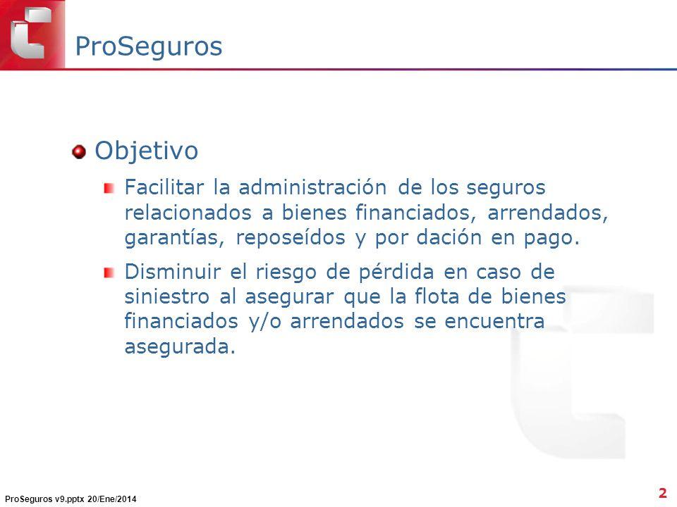 ProSeguros Objetivo Facilitar la administración de los seguros relacionados a bienes financiados, arrendados, garantías, reposeídos y por dación en pago.