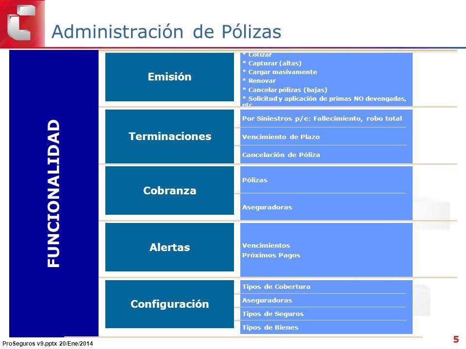 Administración de Pólizas 5 FUNCIONALIDAD Emisión * Cotizar * Capturar (altas) * Cargar masivamente * Renovar * Cancelar pólizas (bajas) * Solicitud y aplicación de primas NO devengadas, etc..