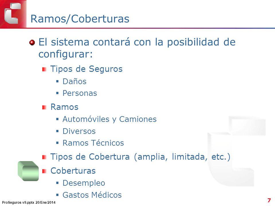 Ramos/Coberturas El sistema contará con la posibilidad de configurar: Tipos de Seguros Daños Personas Ramos Automóviles y Camiones Diversos Ramos Técn