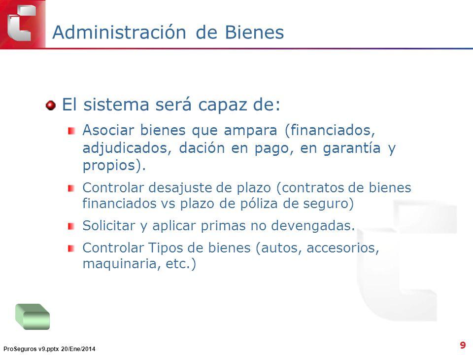 Administración de Bienes El sistema será capaz de: Asociar bienes que ampara (financiados, adjudicados, dación en pago, en garantía y propios). Contro