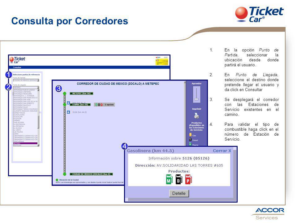 Consulta por Corredores 1.En la opción Punto de Partida, seleccionar la ubicación desde donde partirá el usuario.