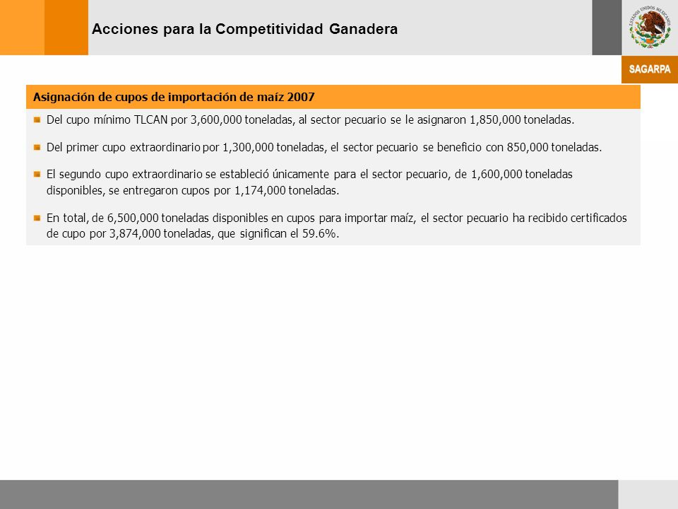 Acciones para la Competitividad Ganadera Asignación de cupos de importación de maíz 2007 Del cupo mínimo TLCAN por 3,600,000 toneladas, al sector pecu