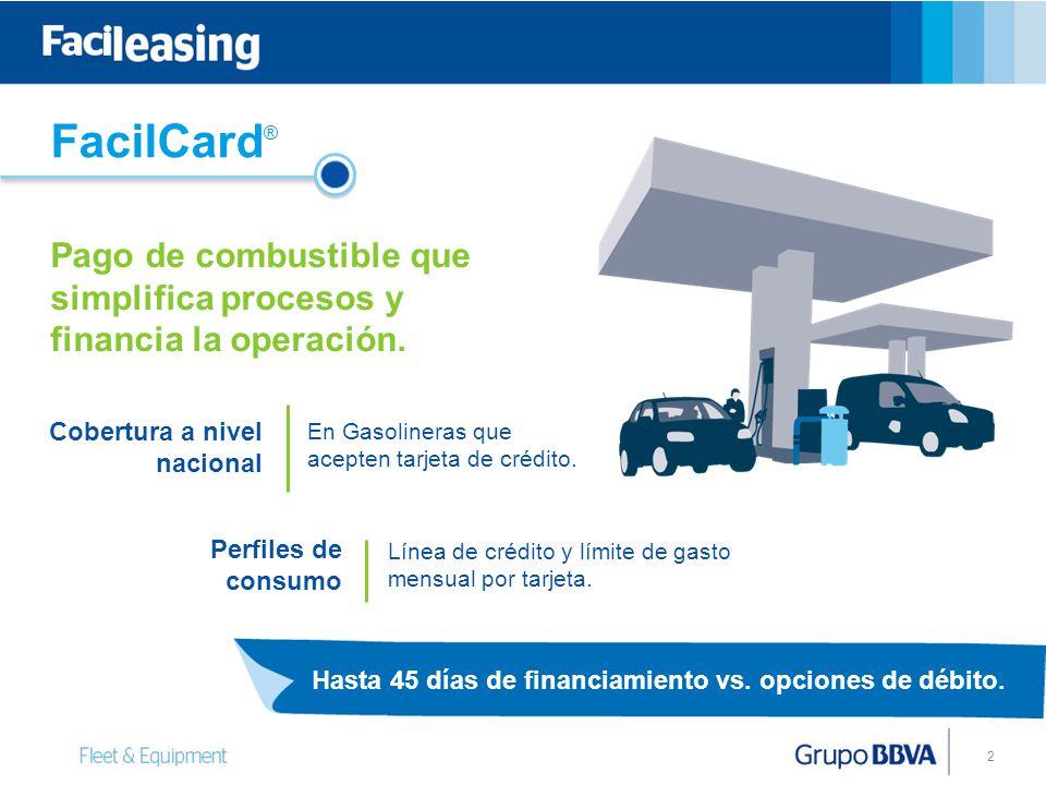 2 Hasta 45 días de financiamiento vs. opciones de débito. Línea de crédito y límite de gasto mensual por tarjeta. Perfiles de consumo Cobertura a nive