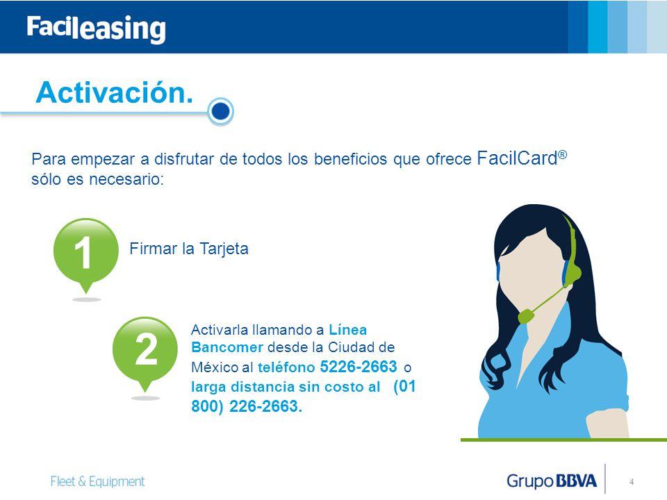 4 Activación. Para empezar a disfrutar de todos los beneficios que ofrece FacilCard ® sólo es necesario: Firmar la Tarjeta Activarla llamando a Línea