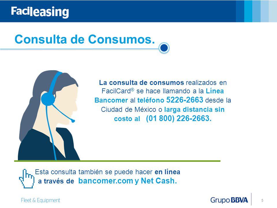 Consulta de Consumos. 5 La consulta de consumos realizados en FacilCard ® se hace llamando a la Línea Bancomer al teléfono 5226-2663 desde la Ciudad d