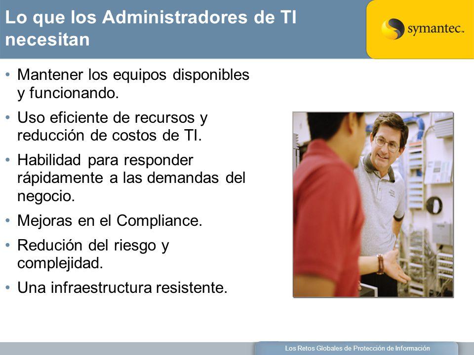 Los Retos Globales de Protección de Información Lo que los Administradores de TI necesitan Mantener los equipos disponibles y funcionando.