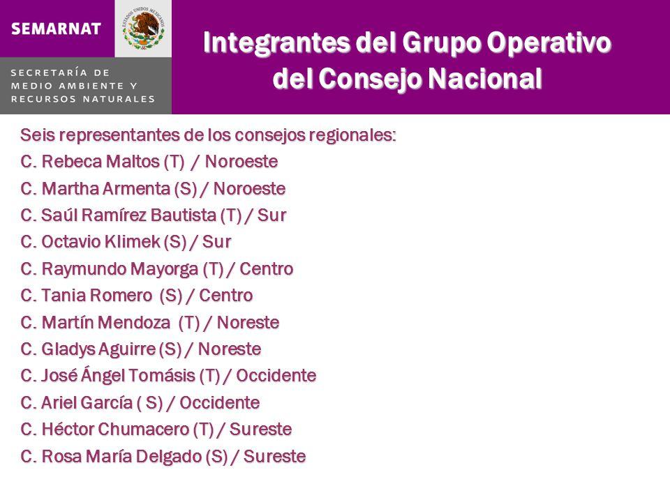 Integrantes del Grupo Operativo del Consejo Nacional Seis representantes de los consejos regionales: C.