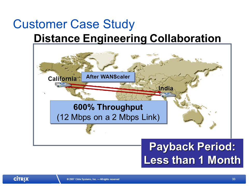 33 © 2007 Citrix Systems, Inc. All rights reserved Customer Case Study Only 25% Throughput (~300 Kbps on a 2 Mbps Link) Only 25% Throughput (~300 Kbps