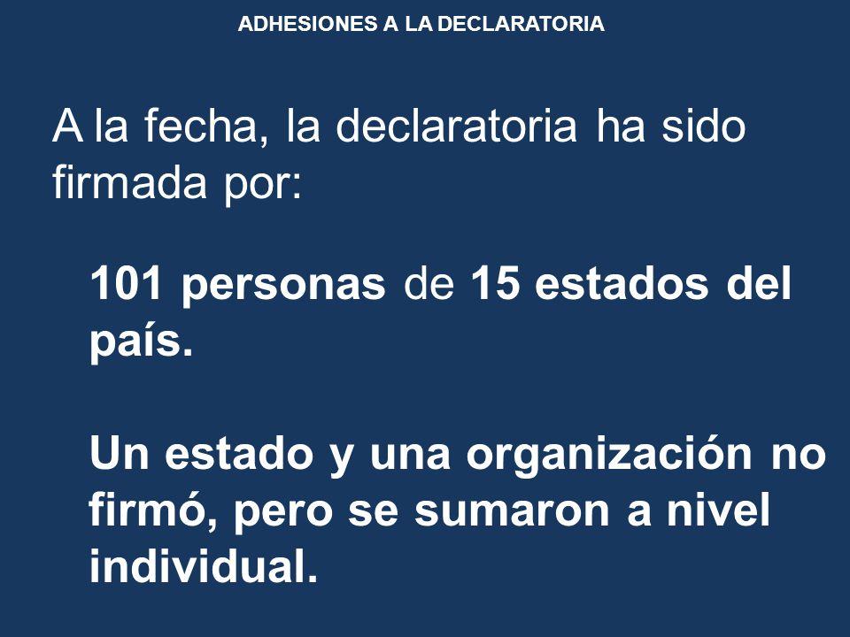 ADHESIONES A LA DECLARATORIA A la fecha, la declaratoria ha sido firmada por: 101 personas de 15 estados del país.