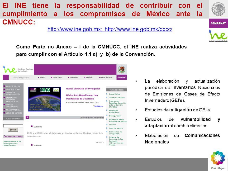 Como Parte no Anexo – I de la CMNUCC, el INE realiza actividades para cumplir con el Artículo 4.1 a) y b) de la Convención. La elaboración y actualiza