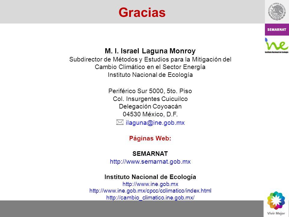 Gracias M. I. Israel Laguna Monroy Subdirector de Métodos y Estudios para la Mitigación del Cambio Climático en el Sector Energía Instituto Nacional d