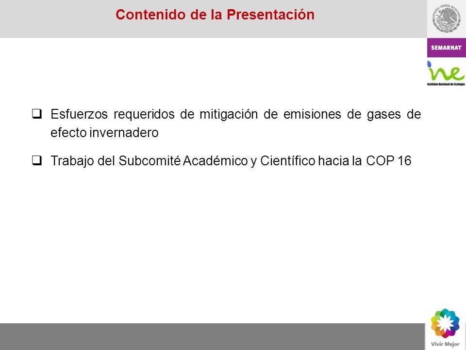 Esfuerzos requeridos de mitigación de emisiones de gases de efecto invernadero Trabajo del Subcomité Académico y Científico hacia la COP 16 Contenido