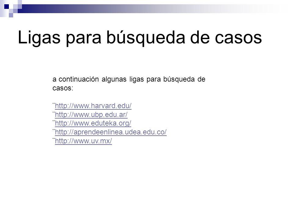 Ligas para búsqueda de casos a continuación algunas ligas para búsqueda de casos: ¨http://www.harvard.edu/http://www.harvard.edu/ ¨http://www.ubp.edu.
