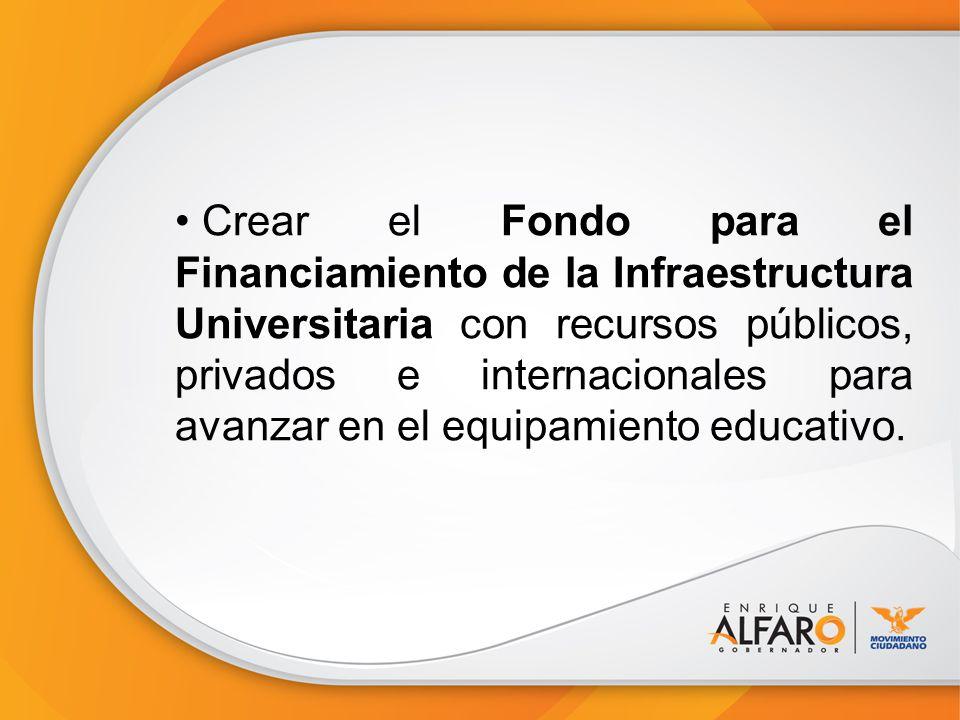 Crear el Fondo para el Financiamiento de la Infraestructura Universitaria con recursos públicos, privados e internacionales para avanzar en el equipamiento educativo.