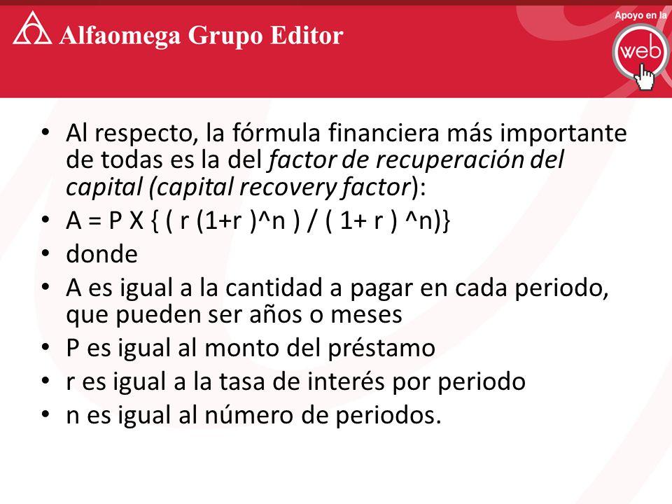 Al respecto, la fórmula financiera más importante de todas es la del factor de recuperación del capital (capital recovery factor): A = P X { ( r (1+r )^n ) / ( 1+ r ) ^n)} donde A es igual a la cantidad a pagar en cada periodo, que pueden ser años o meses P es igual al monto del préstamo r es igual a la tasa de interés por periodo n es igual al número de periodos.