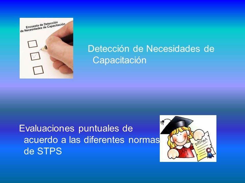 Detección de Necesidades de Capacitación Evaluaciones puntuales de acuerdo a las diferentes normas de STPS