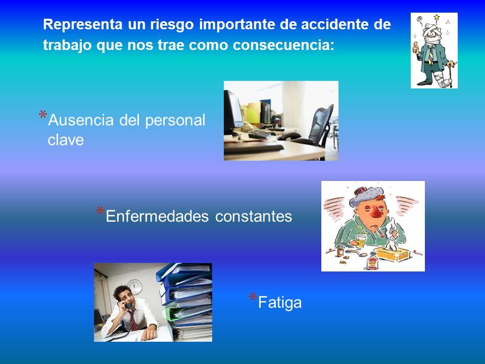 Representa un riesgo importante de accidente de trabajo que nos trae como consecuencia: * Ausencia del personal clave * Enfermedades constantes * Fatiga