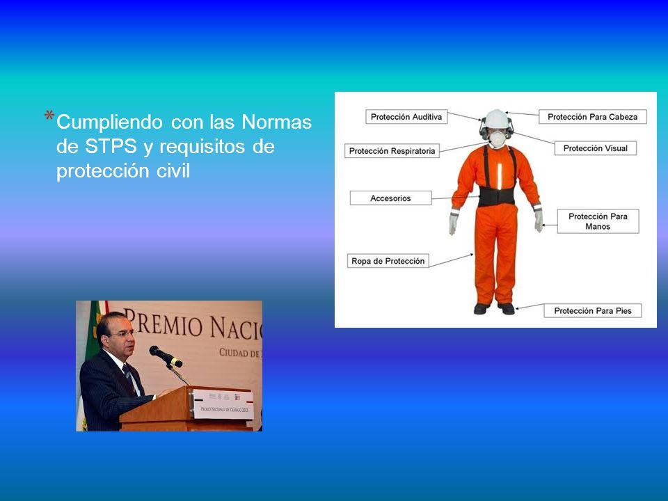 * Cumpliendo con las Normas de STPS y requisitos de protección civil