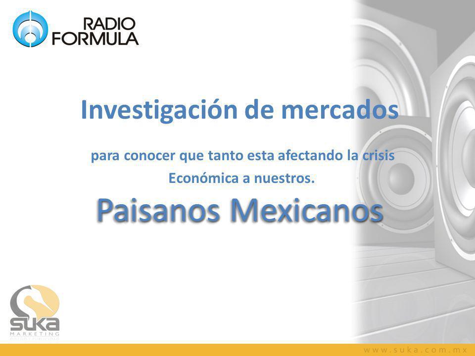 Paisanos Mexicanos Investigación de mercados para conocer que tanto esta afectando la crisis Económica a nuestros.