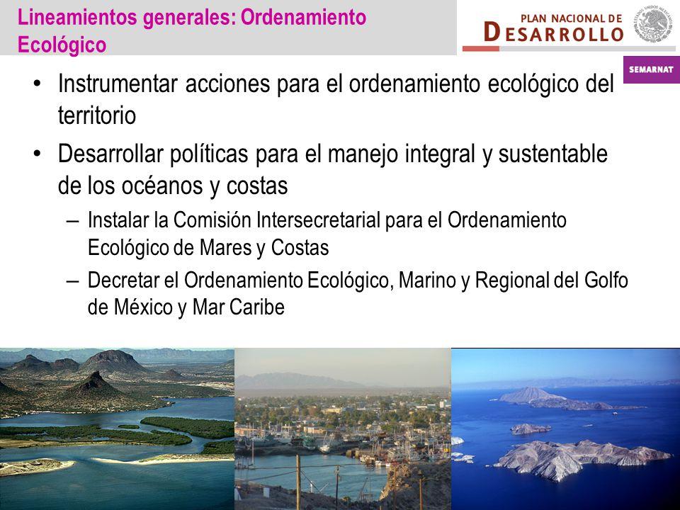 Lineamientos generales: Ordenamiento Ecológico Instrumentar acciones para el ordenamiento ecológico del territorio Desarrollar políticas para el manej