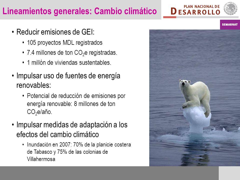 Lineamientos generales: Cambio climático Reducir emisiones de GEI: 105 proyectos MDL registrados 7.4 millones de ton CO 2 e registradas. 1 millón de v