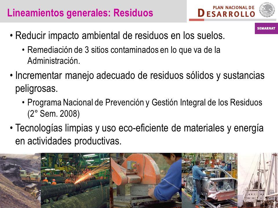 Lineamientos generales: Residuos Reducir impacto ambiental de residuos en los suelos. Remediación de 3 sitios contaminados en lo que va de la Administ