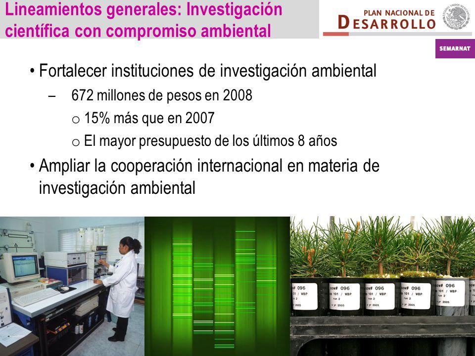 Lineamientos generales: Investigación científica con compromiso ambiental Fortalecer instituciones de investigación ambiental –672 millones de pesos en 2008 o 15% más que en 2007 o El mayor presupuesto de los últimos 8 años Ampliar la cooperación internacional en materia de investigación ambiental
