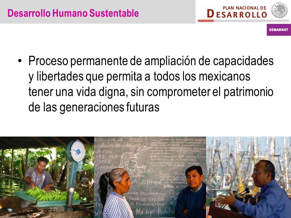 Desarrollo Humano Sustentable Proceso permanente de ampliación de capacidades y libertades que permita a todos los mexicanos tener una vida digna, sin comprometer el patrimonio de las generaciones futuras
