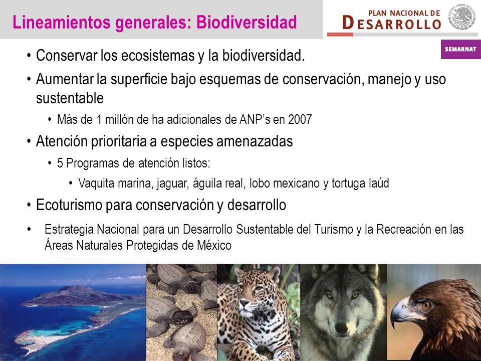 Lineamientos generales: Biodiversidad Conservar los ecosistemas y la biodiversidad.