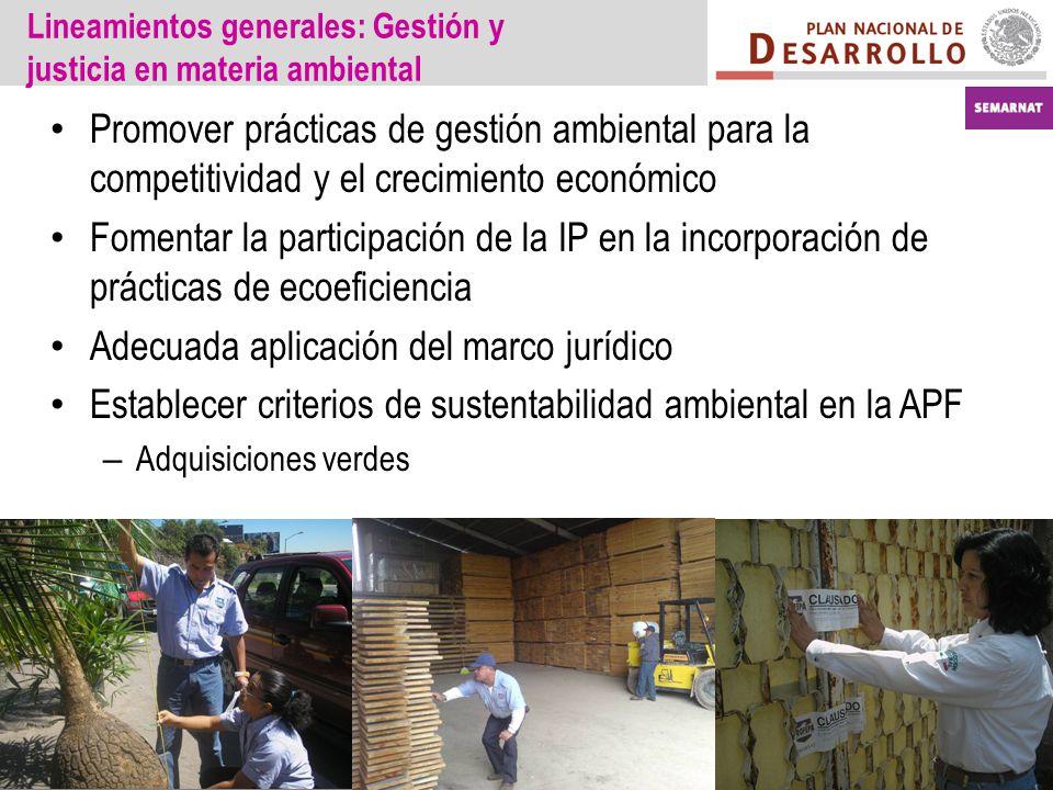 Lineamientos generales: Gestión y justicia en materia ambiental Promover prácticas de gestión ambiental para la competitividad y el crecimiento económ