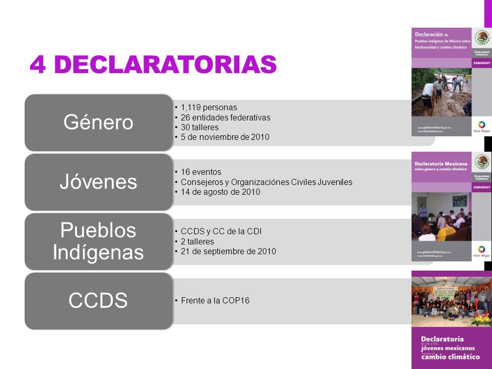 4 DECLARATORIAS 1,119 personas 26 entidades federativas 30 talleres 5 de noviembre de 2010 Género 16 eventos Consejeros y Organizaciónes Civiles Juven