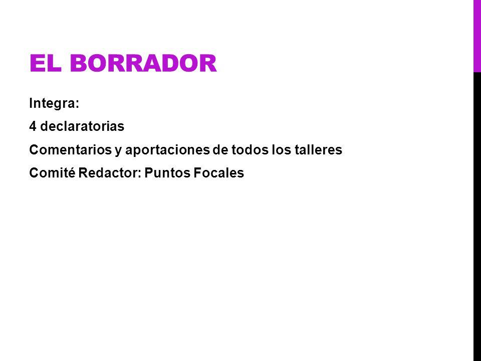 EL BORRADOR Integra: 4 declaratorias Comentarios y aportaciones de todos los talleres Comité Redactor: Puntos Focales