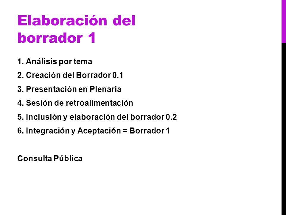 Elaboración del borrador 1 1. Análisis por tema 2. Creación del Borrador 0.1 3. Presentación en Plenaria 4. Sesión de retroalimentación 5. Inclusión y
