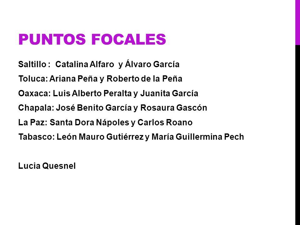 PUNTOS FOCALES Saltillo : Catalina Alfaro y Álvaro García Toluca: Ariana Peña y Roberto de la Peña Oaxaca: Luis Alberto Peralta y Juanita García Chapa