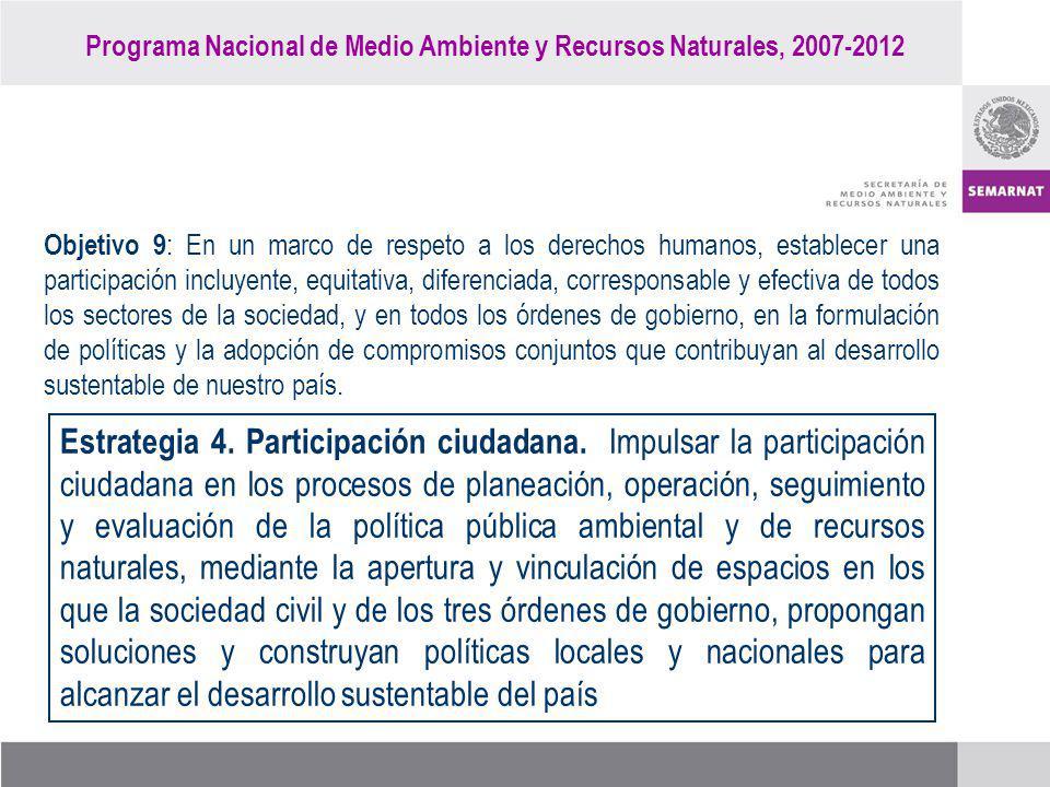 Programa Nacional de Medio Ambiente y Recursos Naturales, 2007-2012 Objetivo 9 : En un marco de respeto a los derechos humanos, establecer una partici