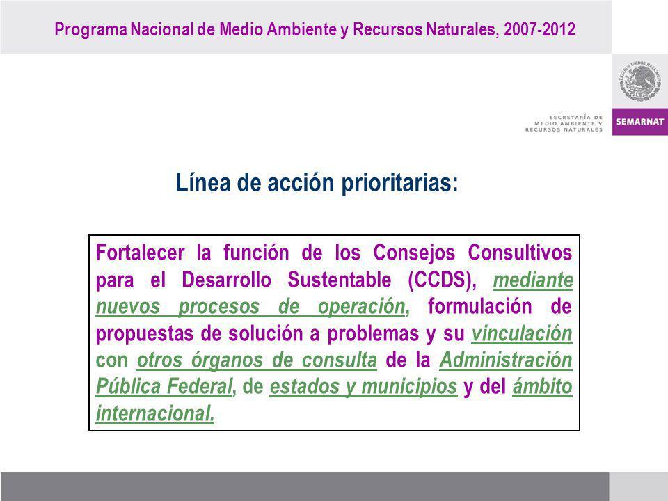 Programa Nacional de Medio Ambiente y Recursos Naturales, 2007-2012 Línea de acción prioritarias: Fortalecer la función de los Consejos Consultivos pa
