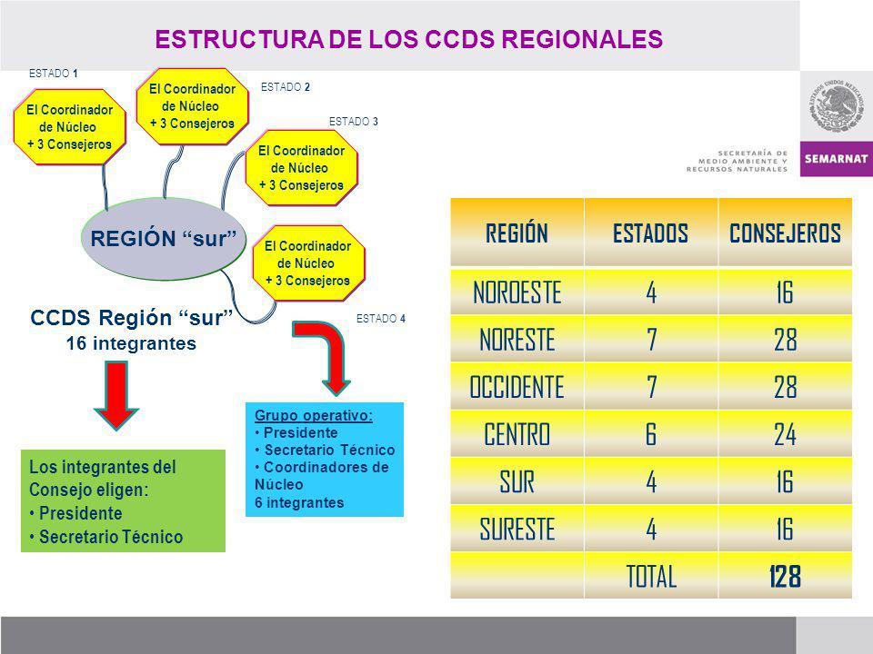 El Coordinador de Núcleo + 3 Consejeros REGIÓN sur CCDS Región sur 16 integrantes Los integrantes del Consejo eligen: Presidente Secretario Técnico Gr