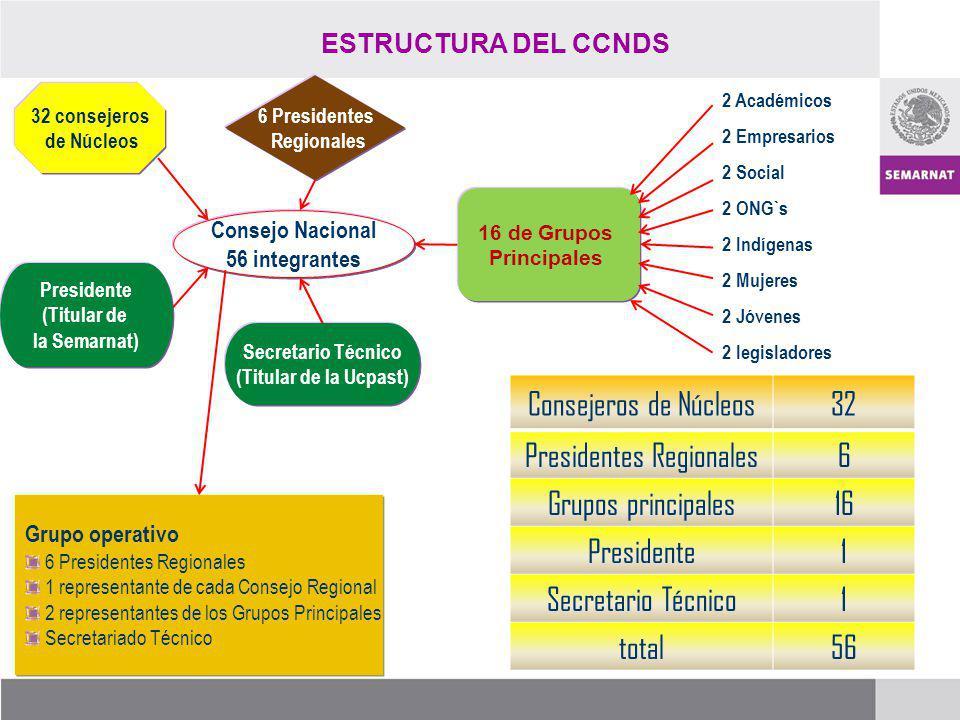 Consejo Nacional 56 integrantes 6 Presidentes Regionales 32 consejeros de Núcleos 16 de Grupos Principales Presidente (Titular de la Semarnat) Secreta