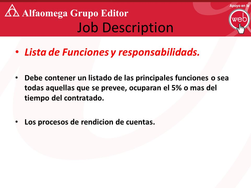 Job Description Lista de Funciones y responsabilidads.