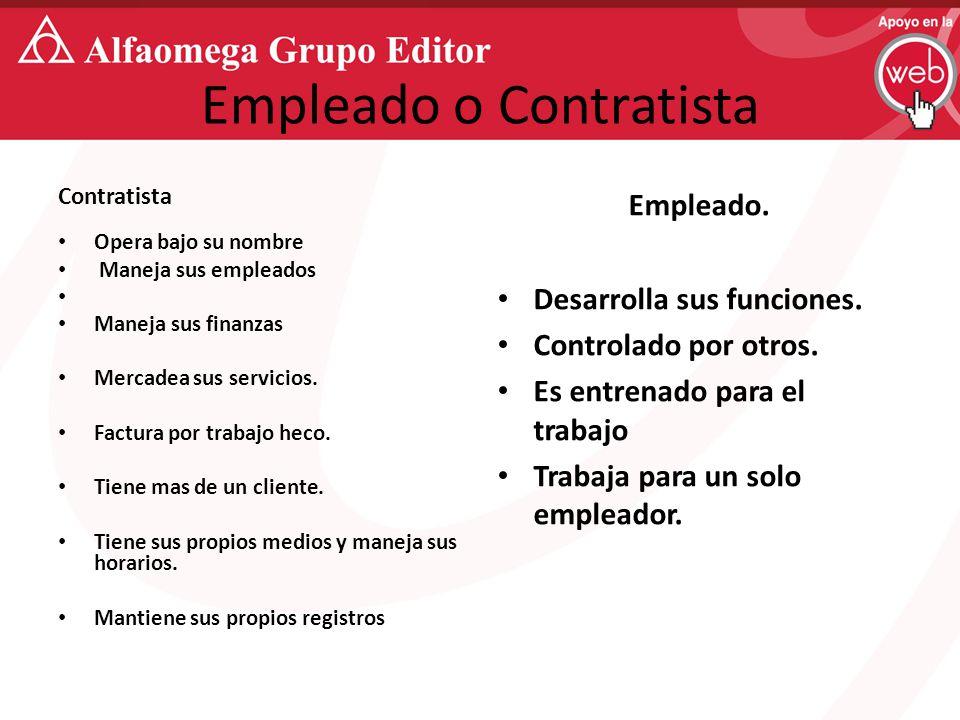Empleado o Contratista Contratista Opera bajo su nombre Maneja sus empleados Maneja sus finanzas Mercadea sus servicios.