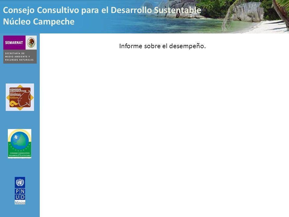 Consejo Consultivo para el Desarrollo Sustentable Núcleo Campeche Informe sobre el desempeño.