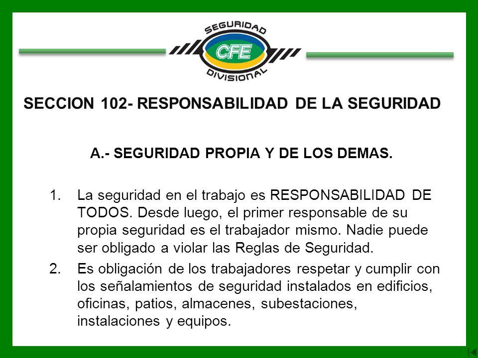 SECCION 102- RESPONSABILIDAD DE LA SEGURIDAD A.- SEGURIDAD PROPIA Y DE LOS DEMAS.
