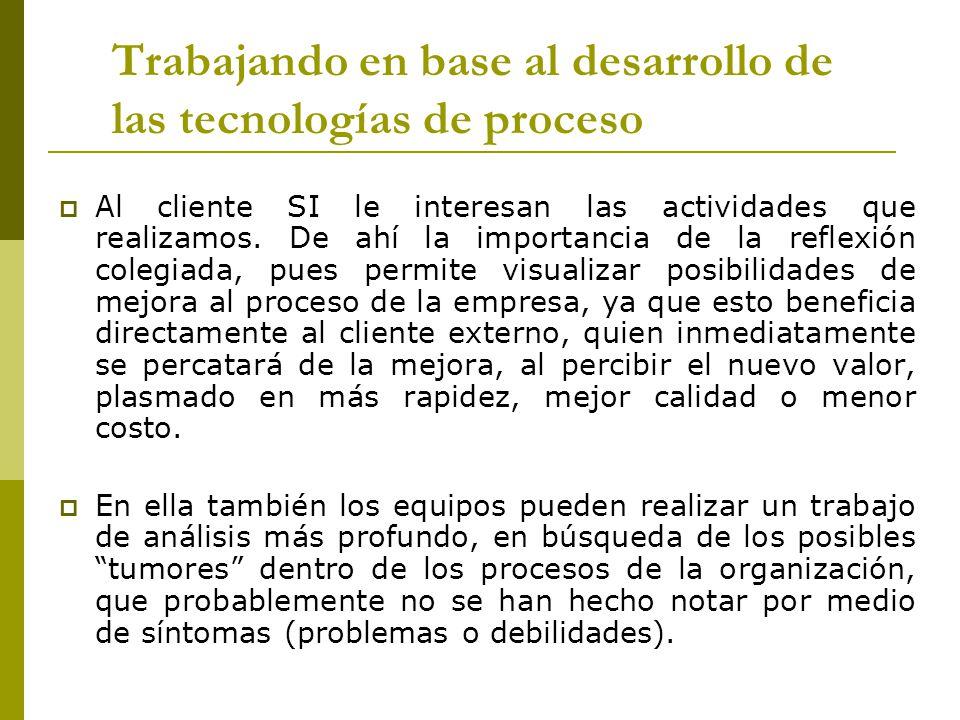 Trabajando en base al desarrollo de las tecnologías de proceso Al cliente SI le interesan las actividades que realizamos. De ahí la importancia de la